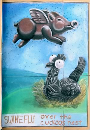 SWINEFLU over the cuckoos nest by Imad Obegi - chalk art contest winner